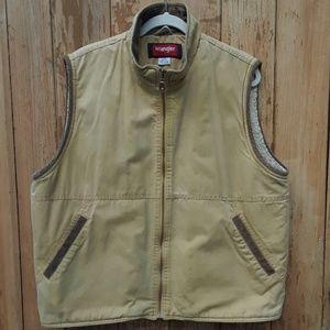Men's wrangler hero canvas vest sherpa lined large